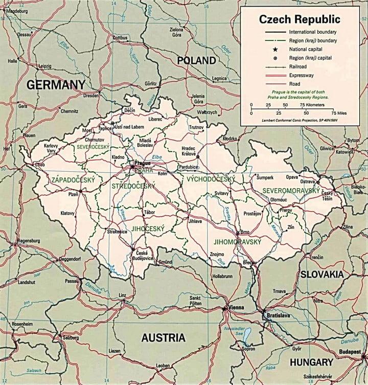 Mapa - República Tcheca