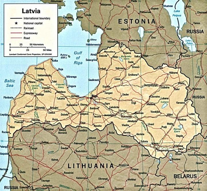 Letonia - Mapa