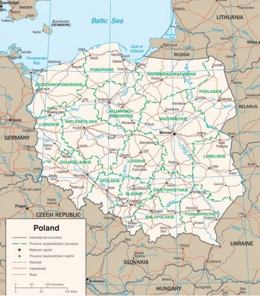 Mapa - Polônia